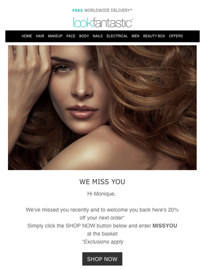 Look Fantastic email example