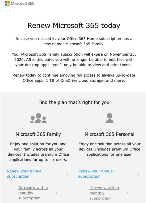 Microsoft renew email example