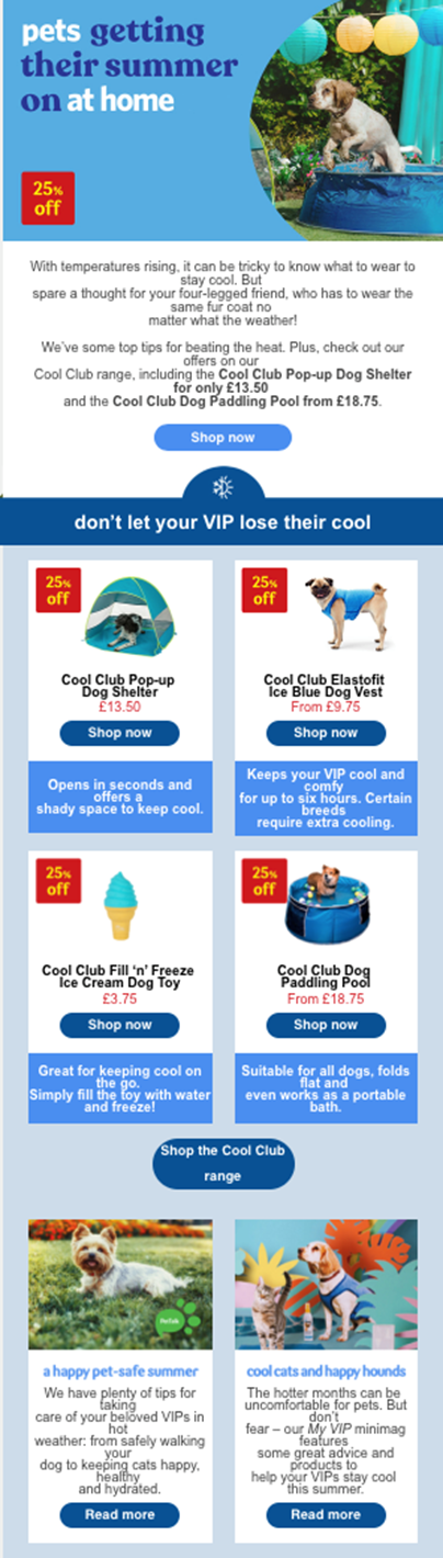 Pets at Home email newsletter