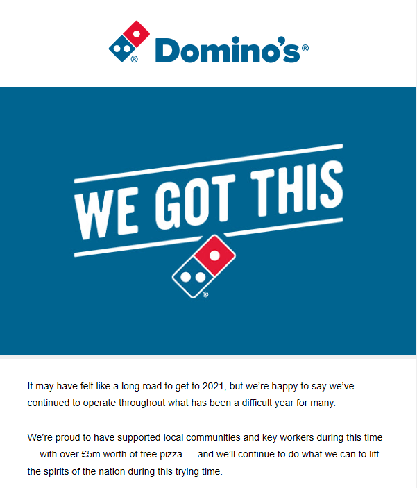 Domino's email marketing example