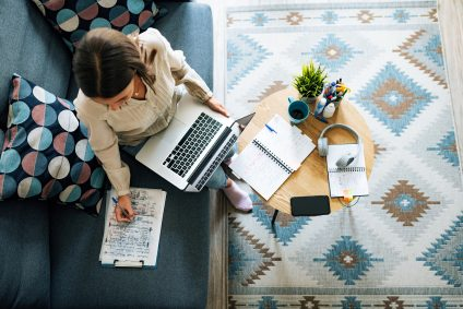 small business owner working at home