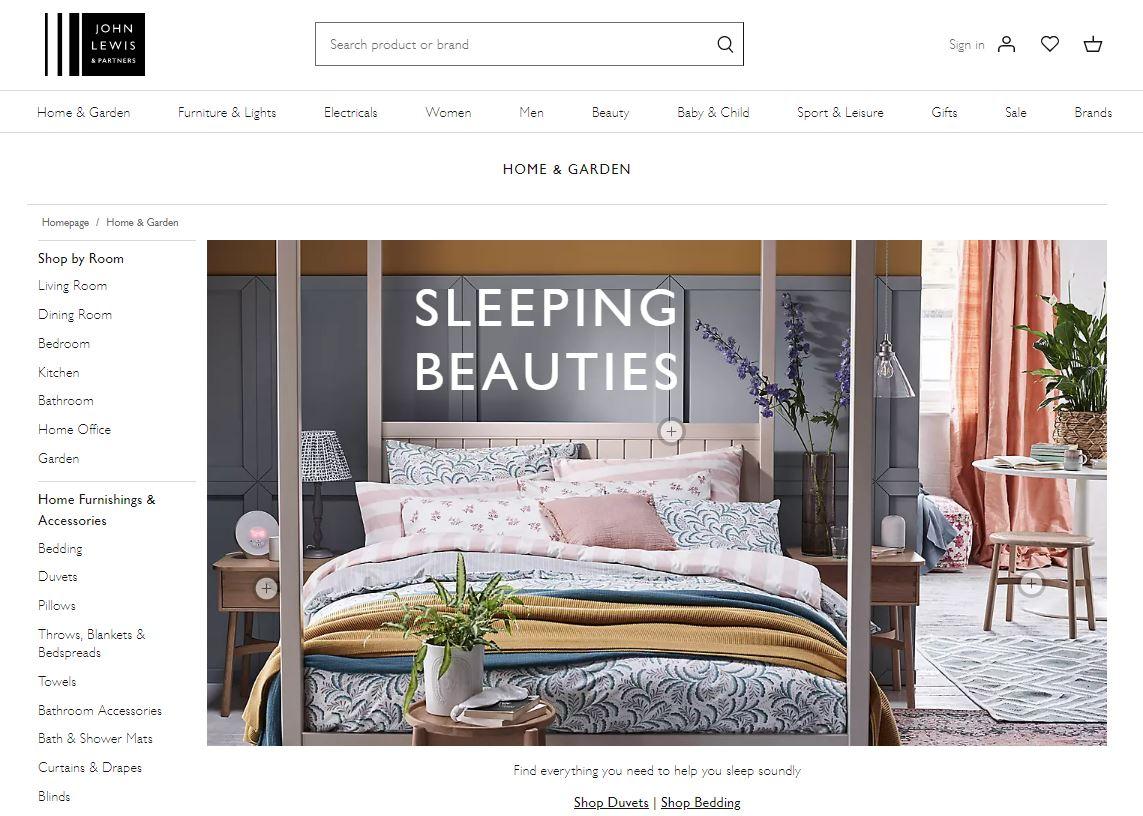 John Lewis Home & Garden webpage